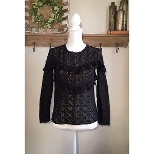 Sezane Ninon Blouse Lace Black Ruffle Long Sleeve